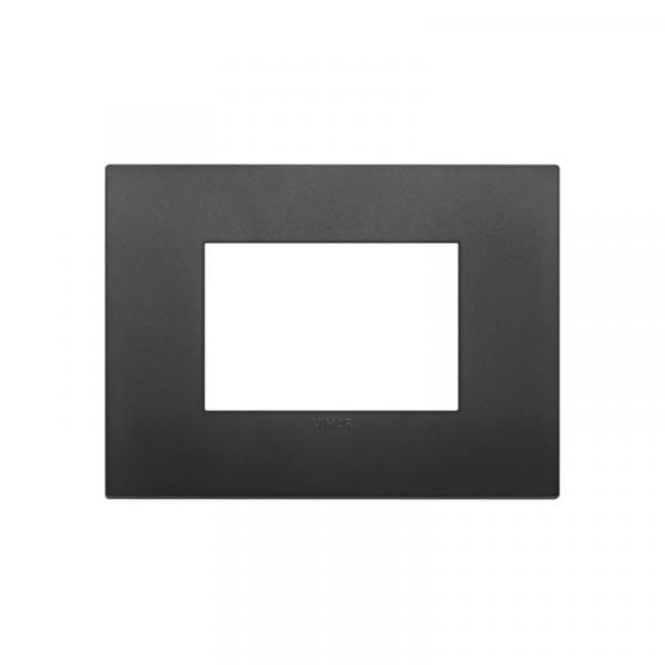 Placa Classic 3 módulos tecnopolímero NEGRA