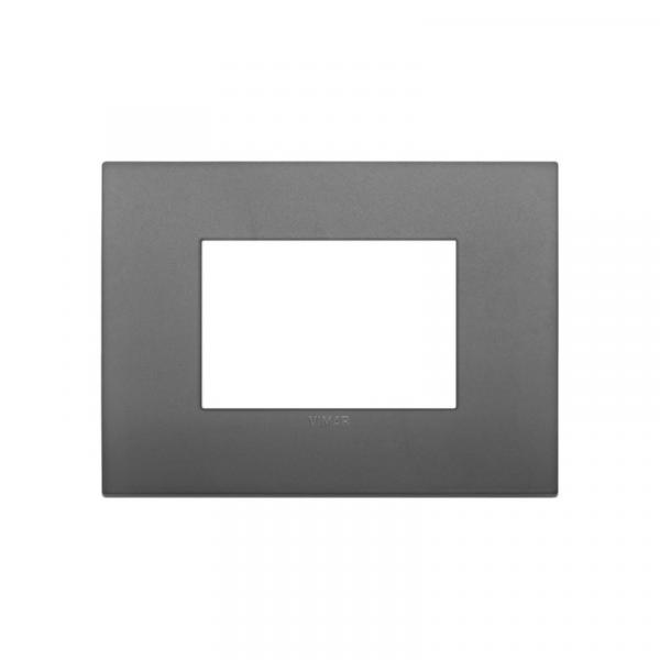 Placa Classic 3 módulos tecnopolímero GRIS