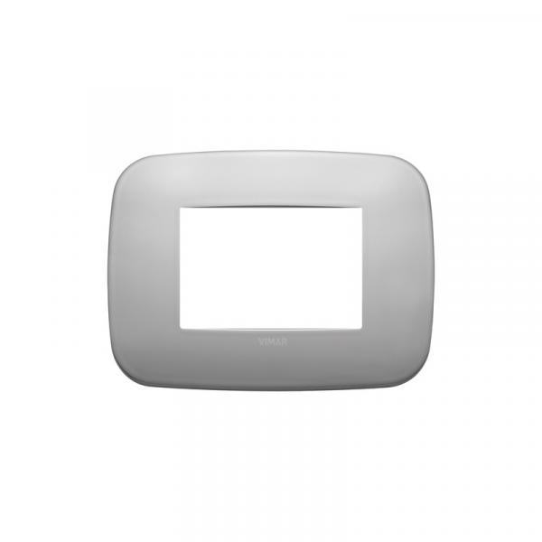 Placa Round 3 módulos metal NIQUEL MATE