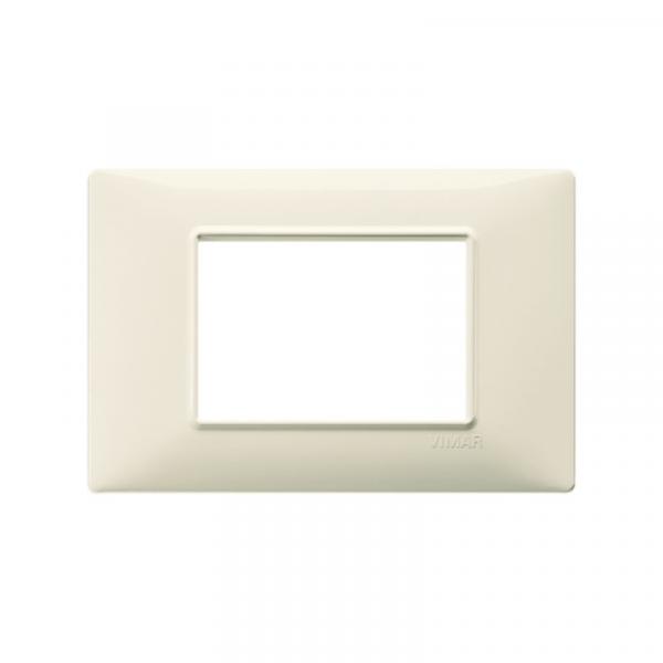 Placa 3 módulos tecnopolímero beige