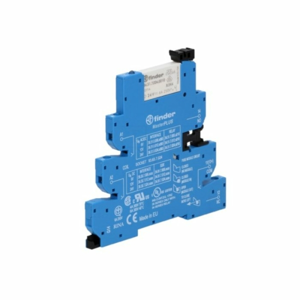 Interfaz modular con relé con porta fusible 24VCA/VCC