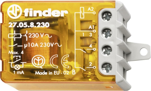 Telerruptor electromecánico 10A 230VCA 2 contactos para embutir