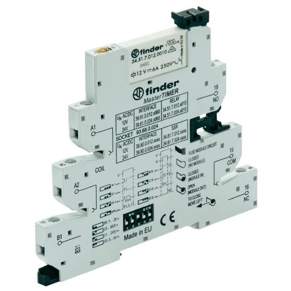 Interfaz modular con relé y timer 24VCA/VCC